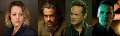 Rachel McAdams, Colin Farrell, Vince Vaughn, and Taylor Kitsch in True Detective Season 2. © HBO